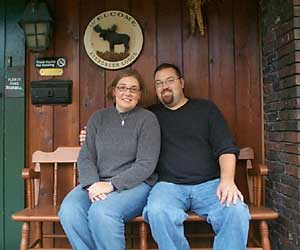 Allison and I on the porch of the Evergreen Lodge